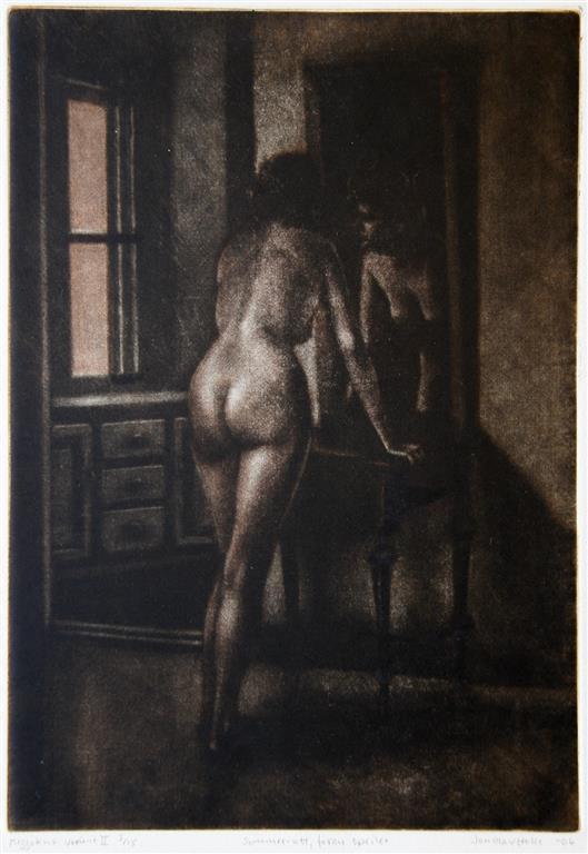 Sommernatt, foran speilet Mezzotint (variant II) 32x22 cm 1500 ur