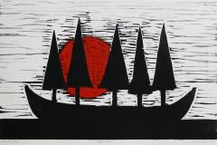Droemmebaat Linosnitt 29,5x47 cm 1700 ur