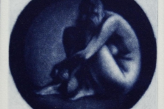 Hodet paa kneet (blaa) Mezzotint 10,5x10,5 cm 1600 mr