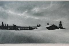 Vinterbilde Etsning 20x34 cm 950 ur