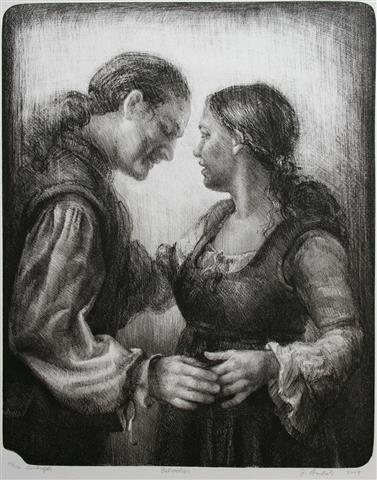 Betroelser sort Litografi 53x42cm 4500,-kr u.r.