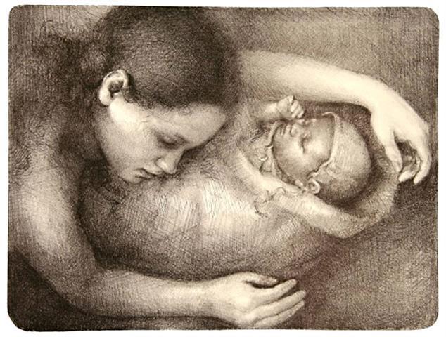 Kjaerlighetsbarnet Litografi 32,5x43cm 3500,-kr u.r.