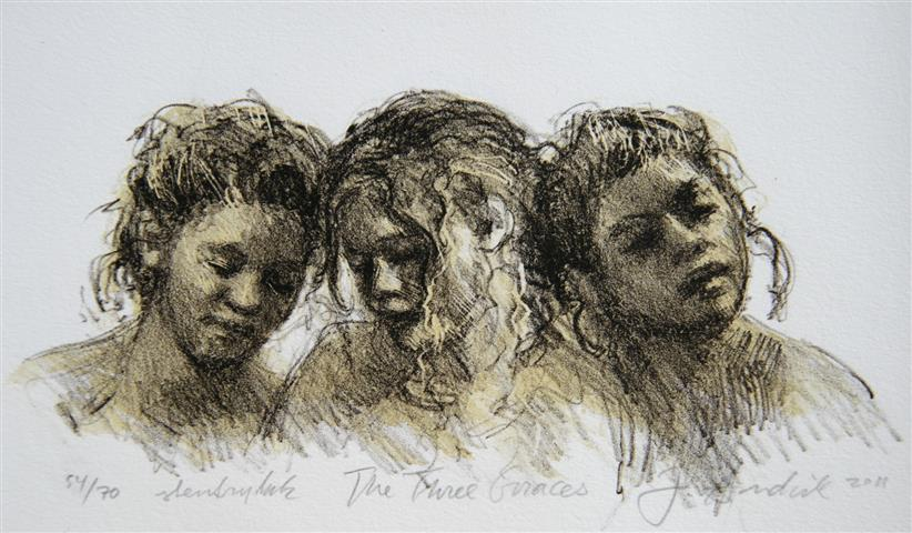 The Three Graces sort Litografi 15x26cm 1100,-kr u.r.