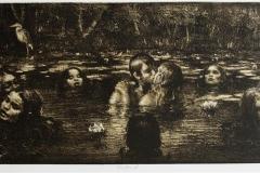 The Pond sort med tone Litografi 26x65cm 3500,-kr u.r.