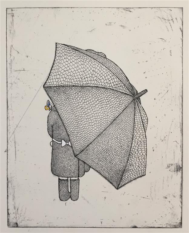 Girl with umbrella,behind Etsning håndkolorert (30x24 cm) kr 2000 ur