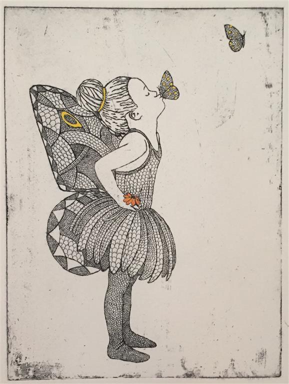 Kissing goodbye Etsning håndkolorert (24x18 cm) kr 1600 ur