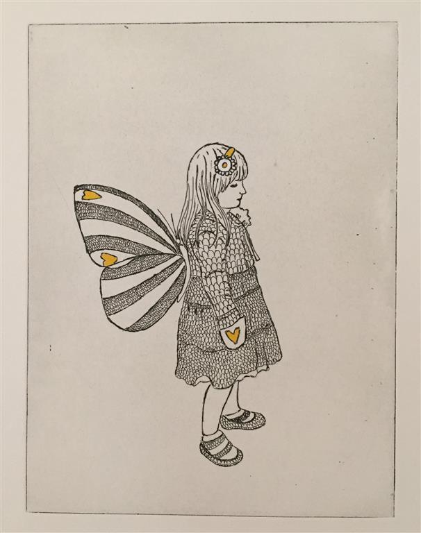 Pike med vinger Etsning håndkolorert (20x15 cm) kr 1300  ur