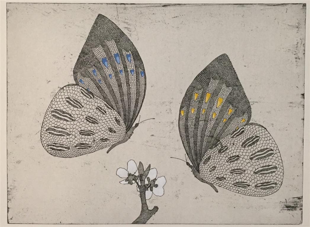 To sommerfugler Etsning håndkolorert (30x40 cm) kr 2600 ur