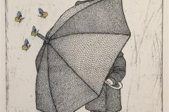 Girl with umbrella in front Etsning håndkolorert  (30x24 cm) kr 2000 ur