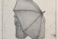Girl with umbrella,behind Etsning håndkolorert (30x24 cm) kr 2000 ur