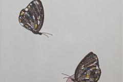 Høne og sommerfugler Tekstiltusj og akryl på lin lerret (27x22 cm) kr 2800 ur