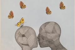Sårbar kjærlighet 2 Tekstiltusj og akryl på lin lerret (50x60 cm) kr 8300 ur