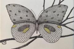 Sommerfugl på gren Tekstiltusj og akryl på lin lerret (22x27 cm) kr 2800 ur