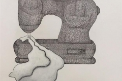 Symaskin Tekstiltusj og akryl på lin lerret (73x60 cm) kr 10000 ur