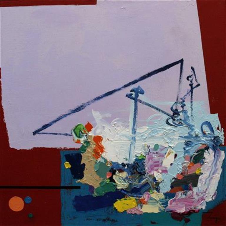 Abstraktion Maleri 40x40 cm 4800 mr