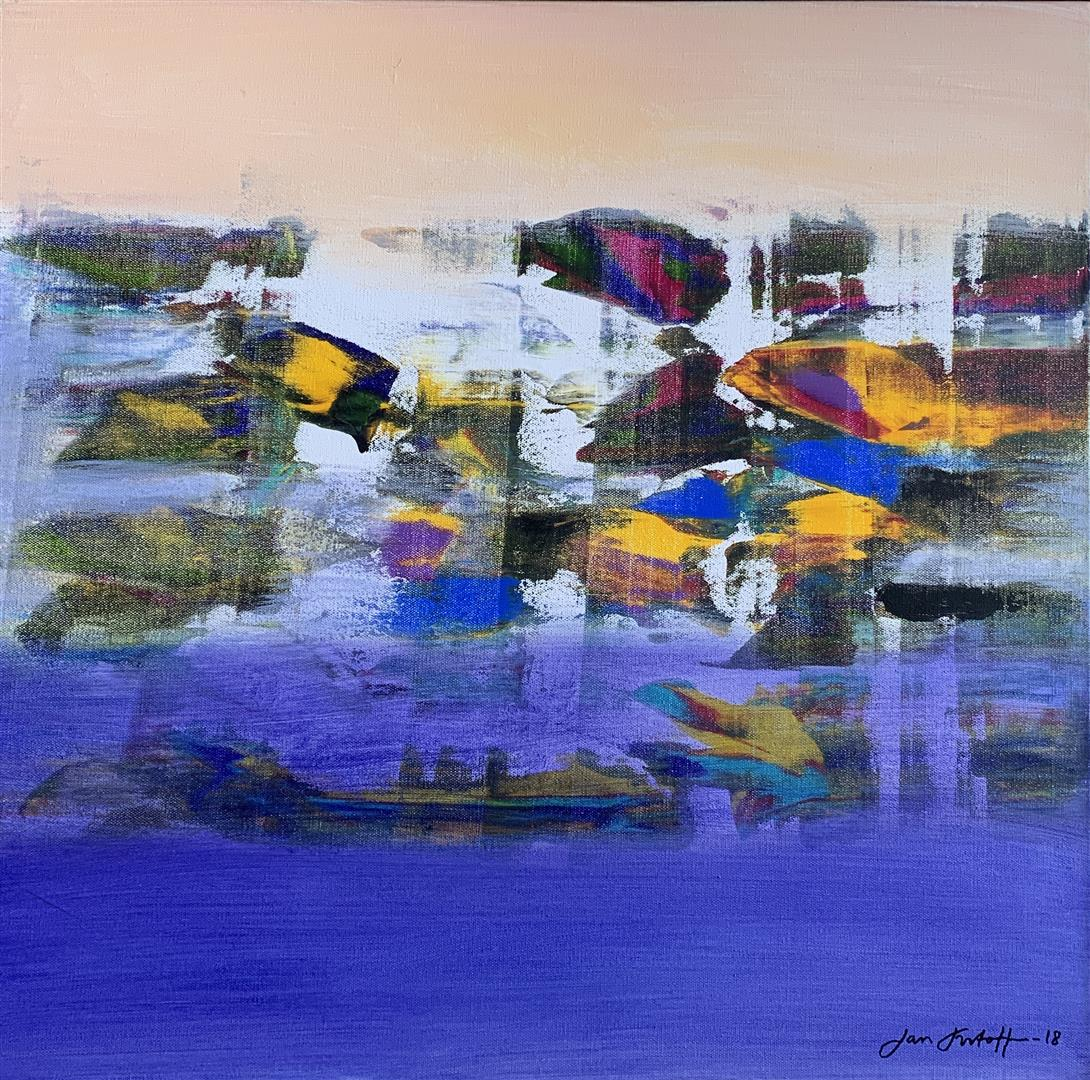Jan Kristoffersen Ved havet Akrylmaleri (60x60 cm) kr 6500