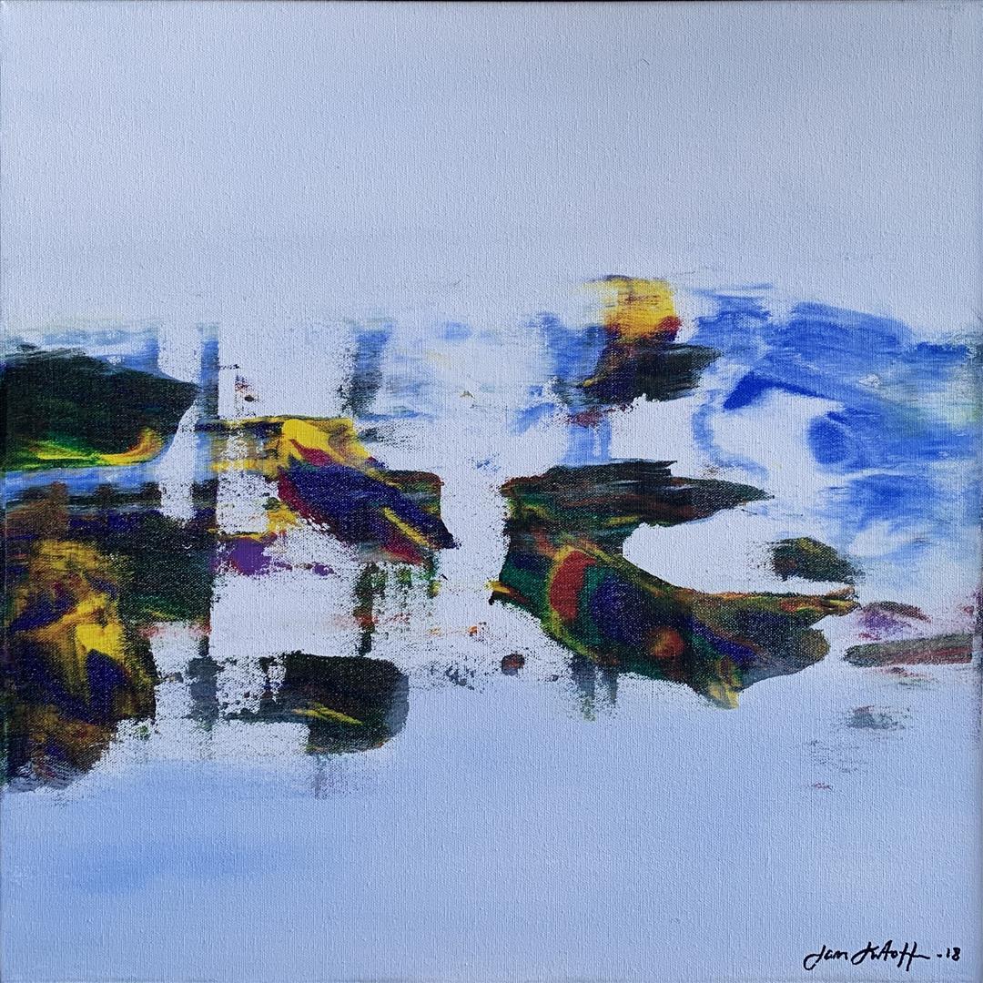Jan Kristoffersen Vinter Akrylmaleri (50x50 cm) kr 5500