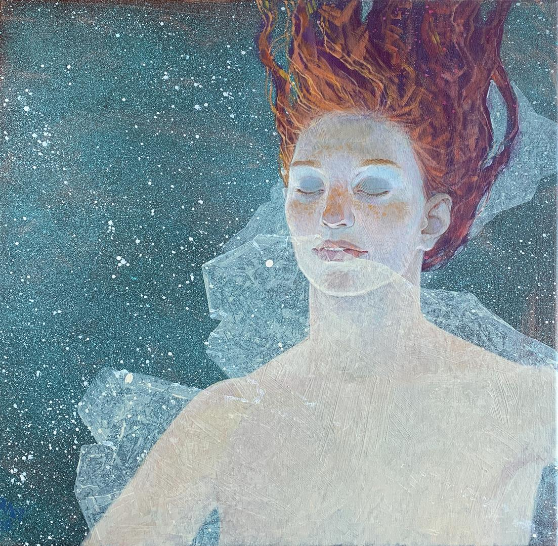 "Julia Mordvinova Gilje ""Mermaids dream II"" Olje og akrylmaleri (60x60 cm) kr 7500 ur"
