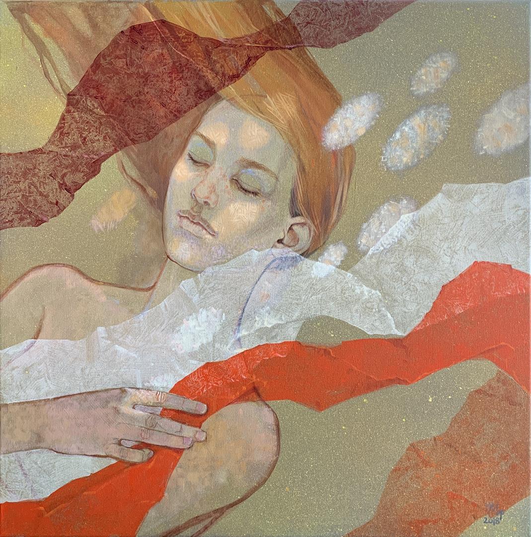 Julia Mordvinova Gilje Mermaids dream III Olje og akrylmaleri (60x60 cm) kr 7500 ur