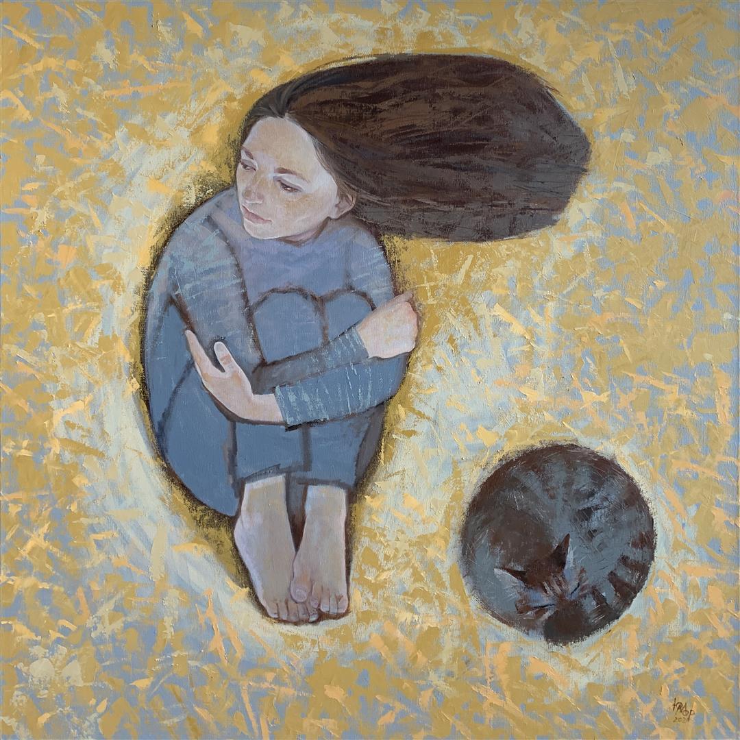 """Julia Mordvinova Gilje """"Vente litt"""" Oljemaleri (80x80 cm) kr 9000 ur a"""