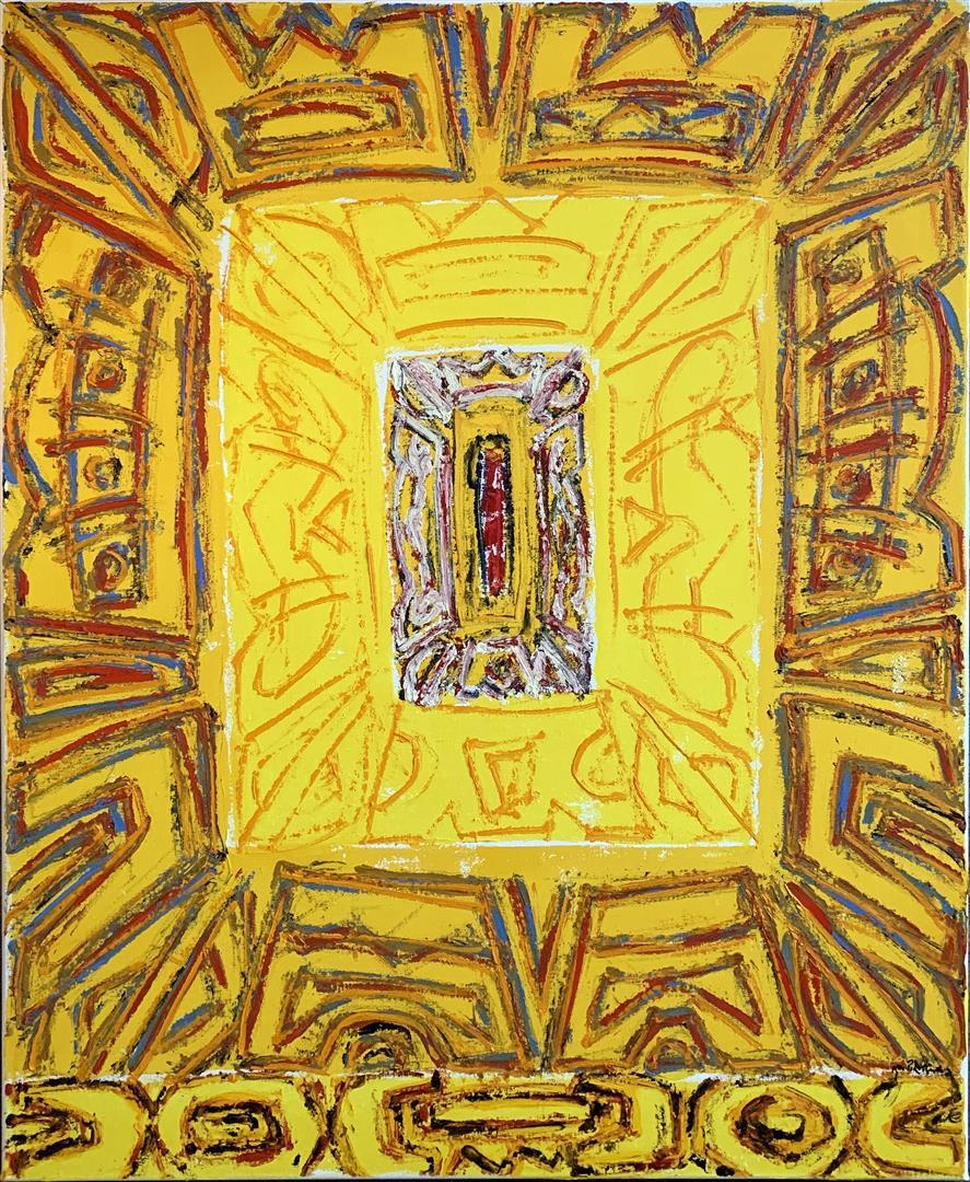 Kjell Pahr-Iversen Ikon, gul Oljemaleri (100x80 cm) kr 50000 ur