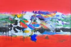 Jan Kristoffersen Rød opus Akrylmaleri (70x70 cm) kr 7500