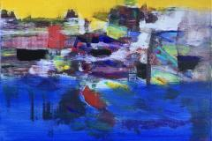 Jan Kristoffersen Ved sjøen Akrylmaleri (60x60 cm) kr 6500