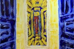 Kjell Pahr-Iversen Ikon, blå ramme Oljemaleri (150x100 cm) kr 85000 ur