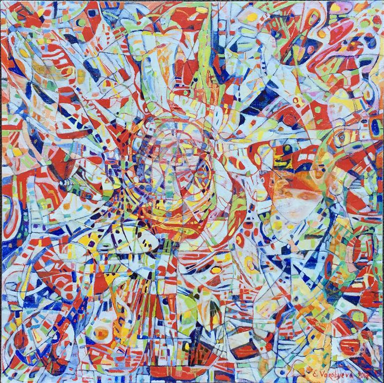 """Elena Vorobyeva: """"Vår"""" Oljemaleri (40x40 cm) kr 8000 ur"""