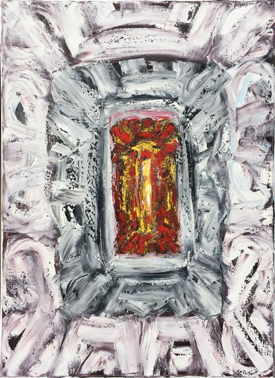 "Kjell Pahr-Iversen ""Lys ikon"" Oljemaleri (100x70 cm) kr 45000 ur"
