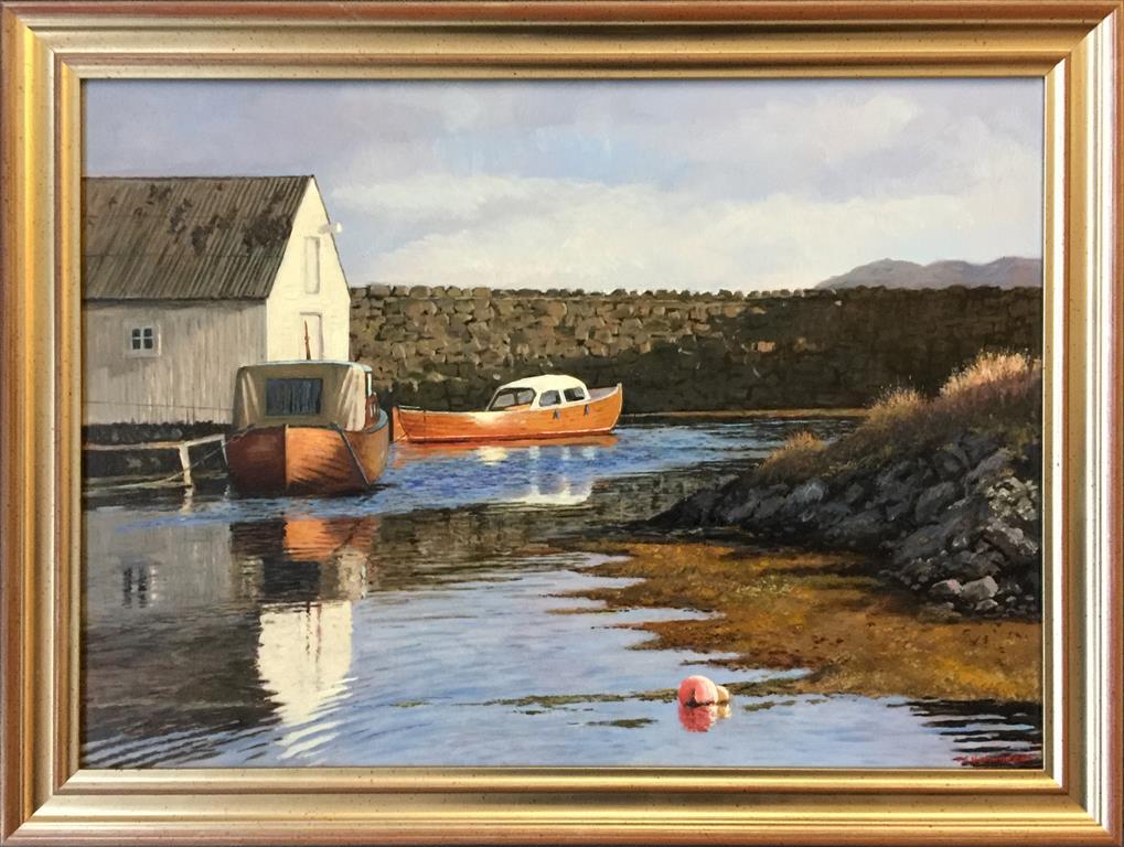 """Odd-Geir Hadland """"Fra Holmasjøen, Bømlo"""" Oljemaleri (45x62 cm) kr 12000 mr"""