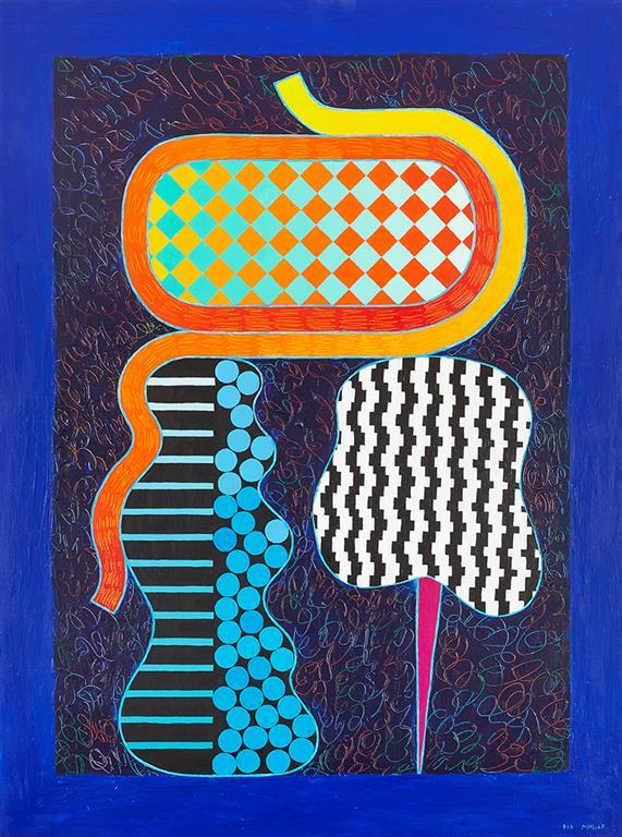 "Pia Myrvold ""Komposisjon, blå"" Akrylmaleri (130x100 cm) kr 54000 ur"