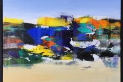 "Jan Kristoffersen ""Jærlandskap I"" Akrylmaleri (60x60 cm) kr 6500 mr"