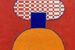 """Pia Myrvold """"Timeconstruction, rød"""" Akryl på papir (86x58 cm) kr 9500 mr"""