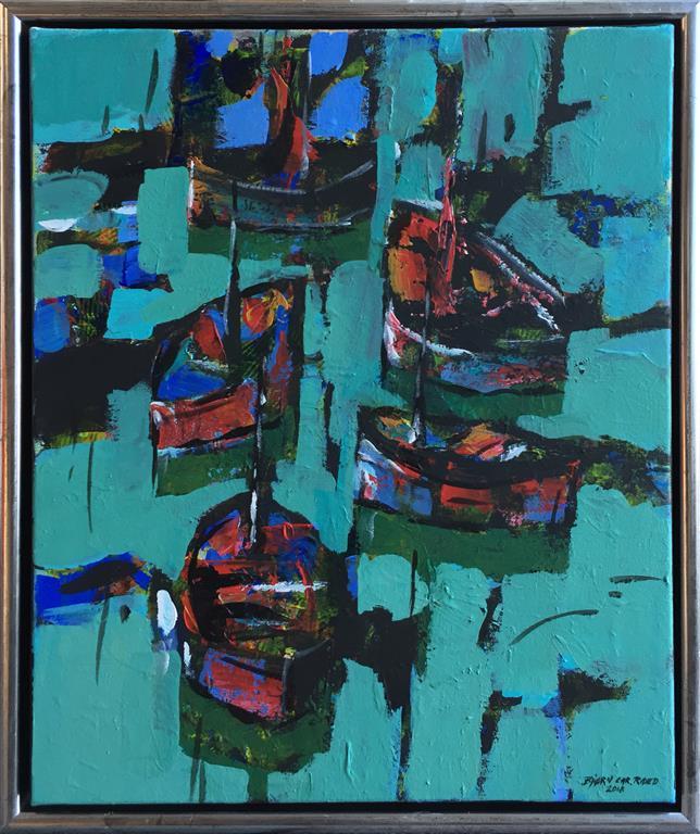 """Bjørn-Chr. Røed """"Fem båter"""" Akrylmaleri (50x40 cm) kr 4800 mr"""