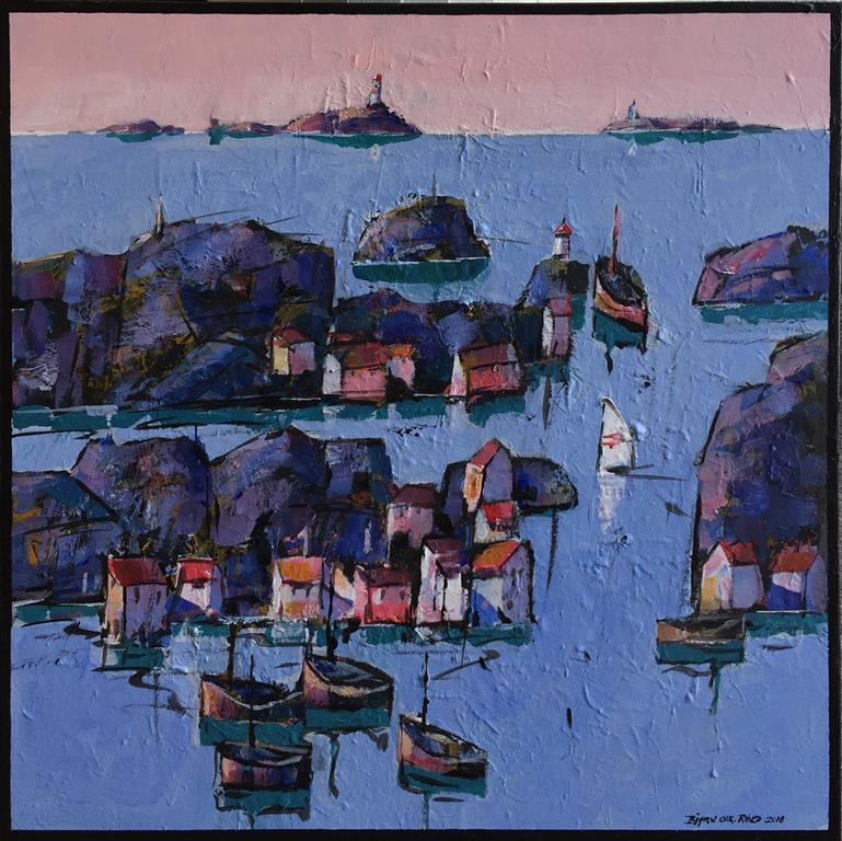 """Bjørn-Chr. Røed """"Kveldsro"""" Akrylmaleri (60x60 cm) kr 6200 ur"""