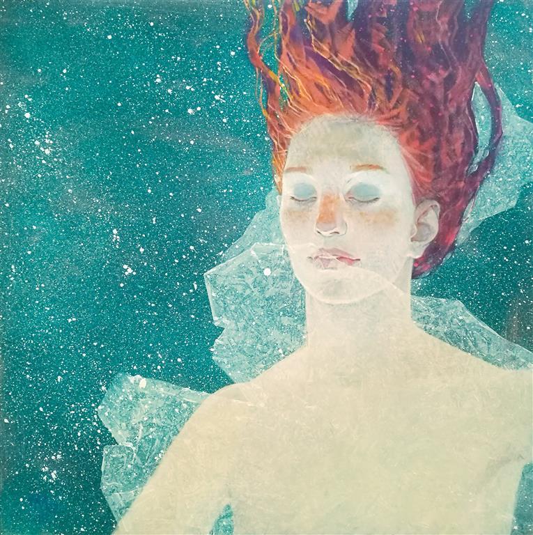 "Julia Mordvinova Gilje ""Mermaid´s dream II""  Akryl/olje (60x60 cm) kr 7500 ur"