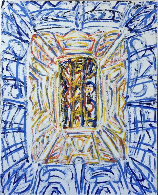 "Kjell Pahr-Iversen ""Ikon, ny I"" Oljemaleri (100x80 cm) kr 50000 ur"