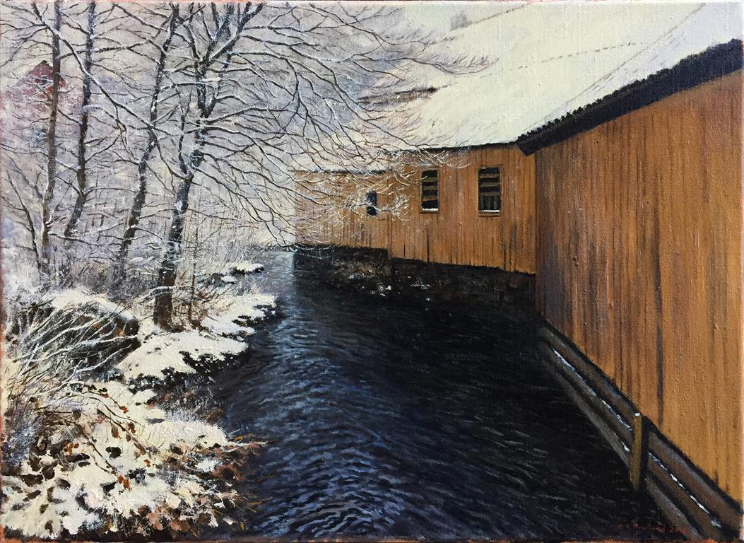 """Odd-Geir Hadland """"Fra Sagvåg, Stord"""" Oljemaleri (33x46 cm) kr 8000 ur"""