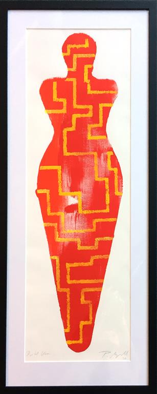 "Pia Myrvold ""Venus, red"" Akryl på papir (100x35 cm) kr 9000 mr"