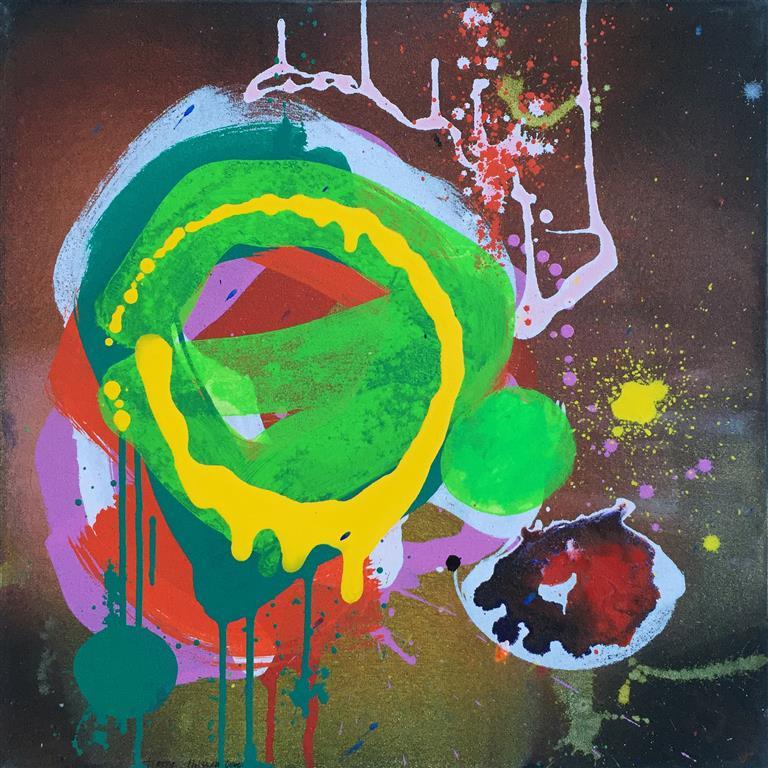 "Terry Nilssen-Love ""Floating garden"" Akrylmaleri (50x50 cm) kr 8000 ur"