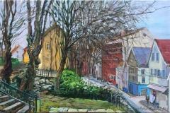 """Andrey Belevich """"Nedre Strandgate, Stavanger"""" Oljemaleri (35x55 cm) kr 5000 ur"""