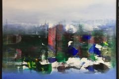 "Jan Kristoffersen ""Morgentåke"" Akrylmaleri (60x60 cm) kr 6500 mr"