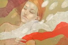 "Julia Mordvinova Gilje ""Mermaid´s dream III""  Akryl/olje (60x60 cm) kr 7500 ur"