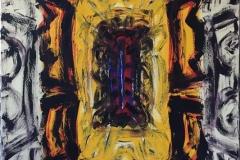 """Kjell Pahr-Iversen """"Ikon, varme farger"""" Oljemaleri (150x100 cm) kr 80000 ur"""