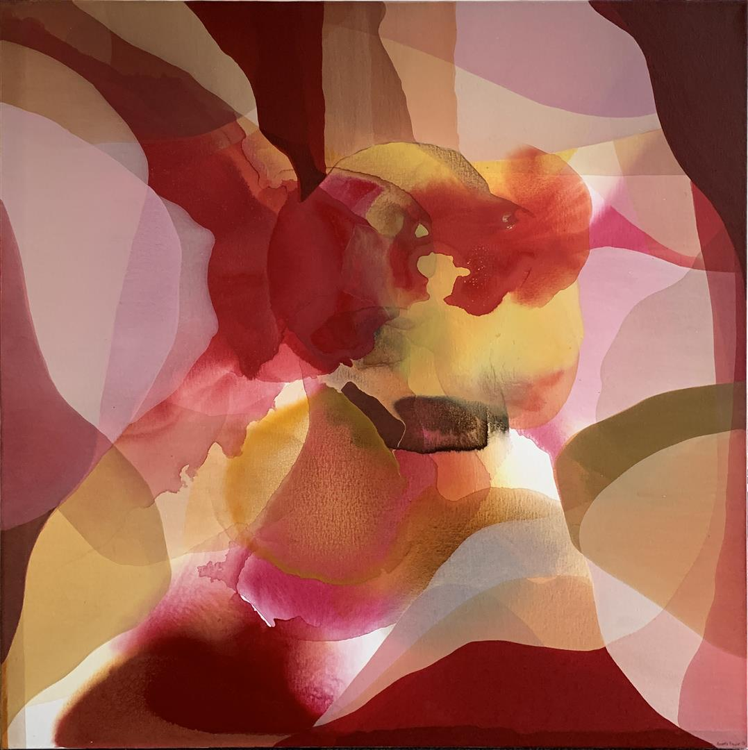 Annette Bryne: Fri flyt II Akrylmaleri (100x100 cm) kr 13000 ur