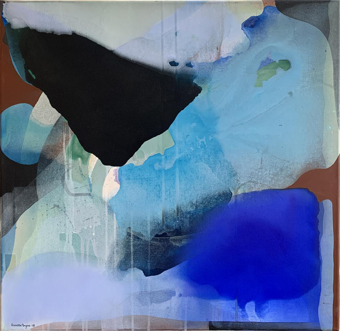 Annette Bryne: Fri flyt III Akrylmaleri (60x60 cm) kr 6000 ur
