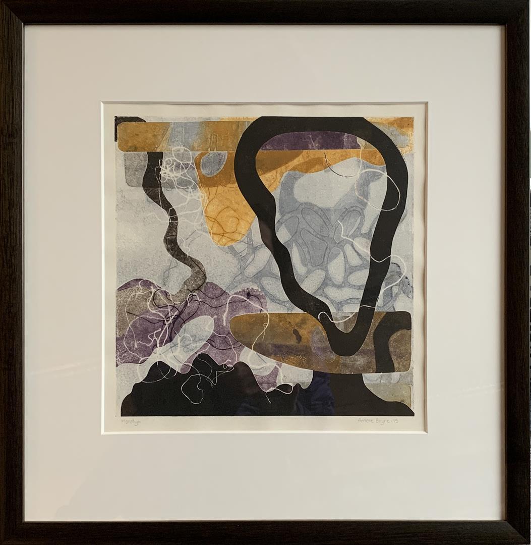 Annette Bryne: Komposisjon II Monotypi (30x30 cm) kr 5000 mr