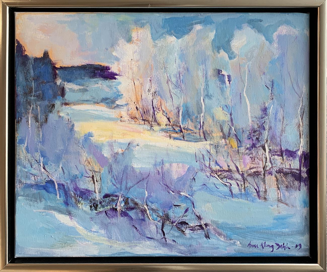 Arne Kleng Dahle: Senvinter Akrylmaleri (50x60 cm) kr 6000 mr