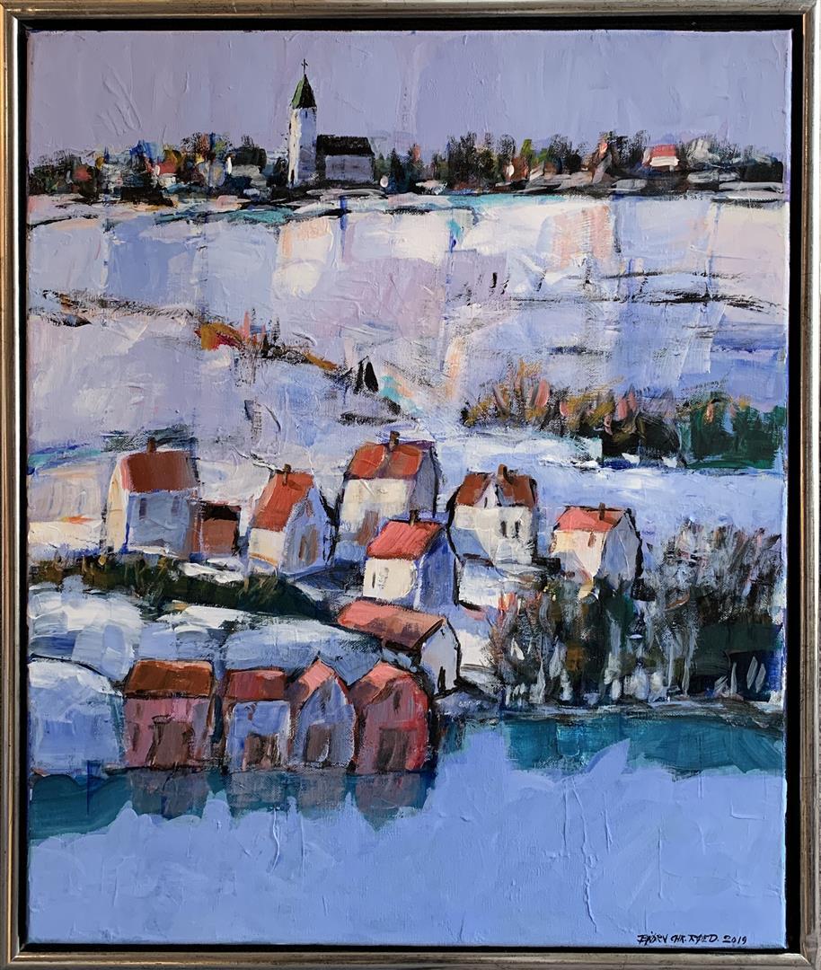 Bjørn-Christian Røed: Den hvite kirken Akrylmaleri (60x50 cm) kr 6000 mr